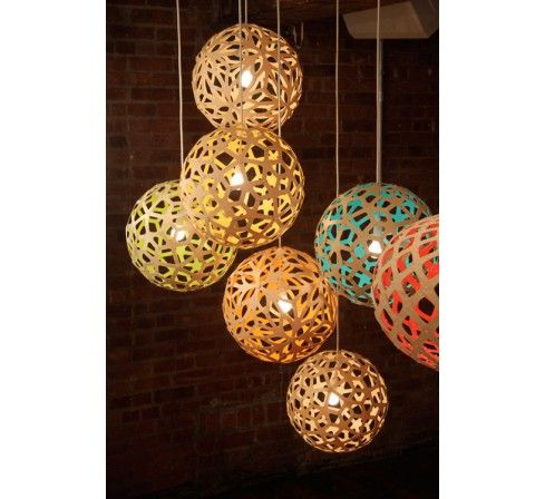 Kit floral bicolore suspension co design en bambou luminaire cologique en - Suspension luminaire bambou ...