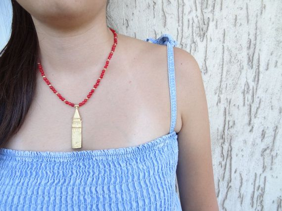 Galata Tower Pendant Red Jade Necklace Gold Plated Necklace