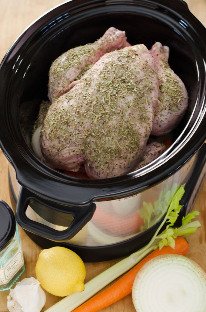 Crock pot whole chicken is an easy, healthy, gluten-free recipe. And a great way to slow cook chicken for paleo lunches and dinners throughout the week.