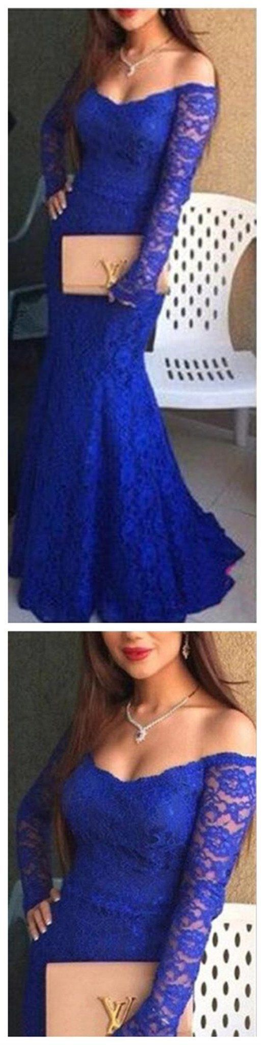 Royal Blue Party Sexy Lace Long Sleeve Inexpensive Evening Prom Dresses Prom Gowns