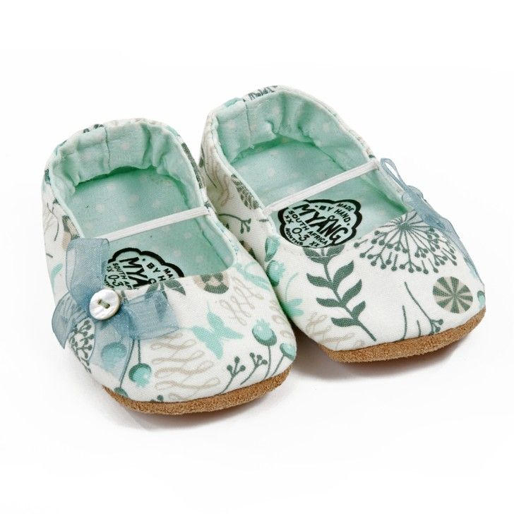 MYANG | Girls Pumps in White and Turquoise Floral - - Made by hand in South Africa #baby  www.myang.co.za  #MyangMoms