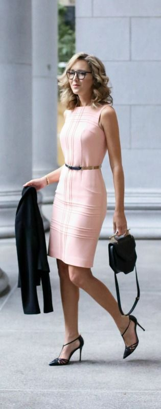 What to wear to a client meeting {blush sheath dress, black double breasted jacket, skinny black belt, pointed toe t-strap heels, black shoulder bag, glasses + curled hairstyle}