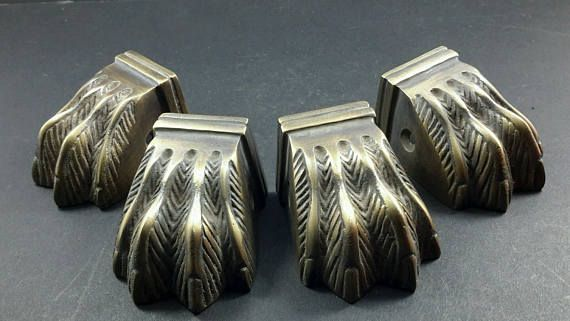 4 Antique Style Solid Brass Table Legs Lion Feet FOOT CAPS