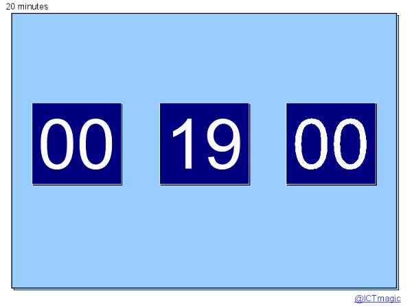 A PowerPoint timer that counts down in seconds and can start at minute intervals.