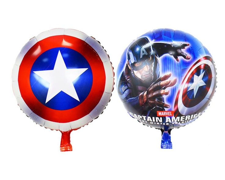 [Visit to Buy] 2pcs/lot Avengers Alliance Foil Balloons Captain America Shield Balloon Classic Superhero Theme Birthday Party Decorations #Advertisement