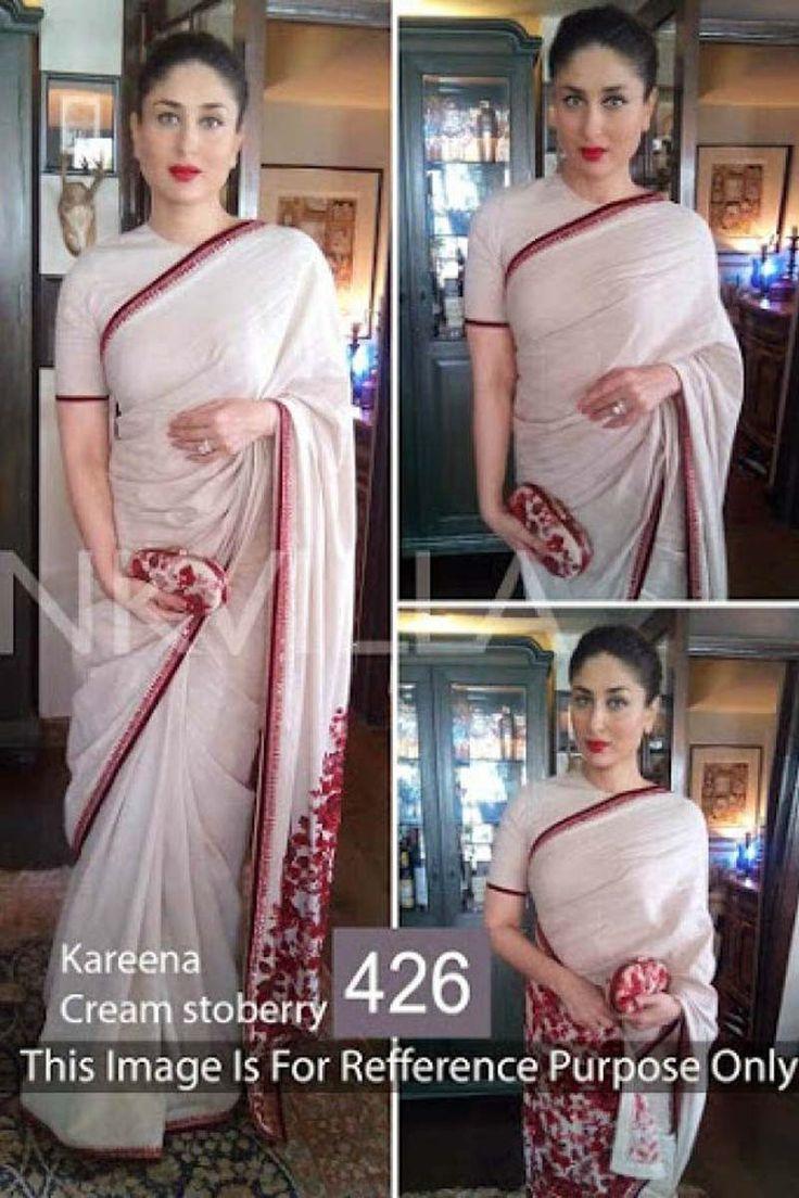 Kareena Kapoor White Georgette Latest Bollywood Saree