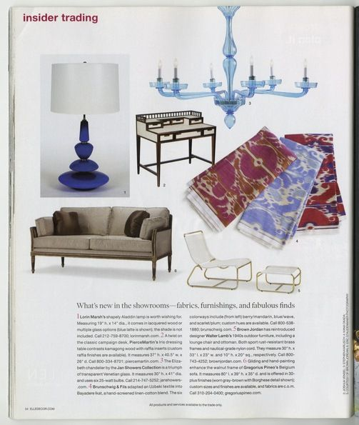 "Elle Decor, May 09–INSIDER TRADING: Belgium Sofa -""hand-painted and gilded finishes."" CAPITAL IDEA: Continental Table in George Stephanopoulos & Alexandra Wentworth's home."