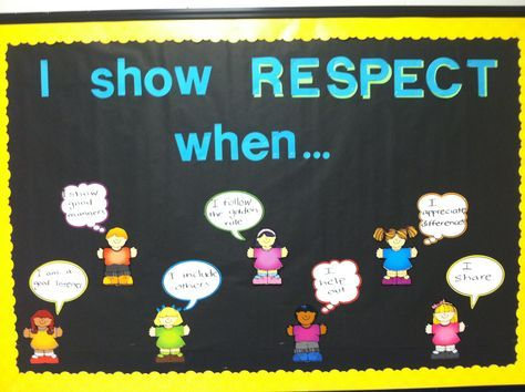 Character education bulletin board--respect. Would be cute to use pictures of actual students.