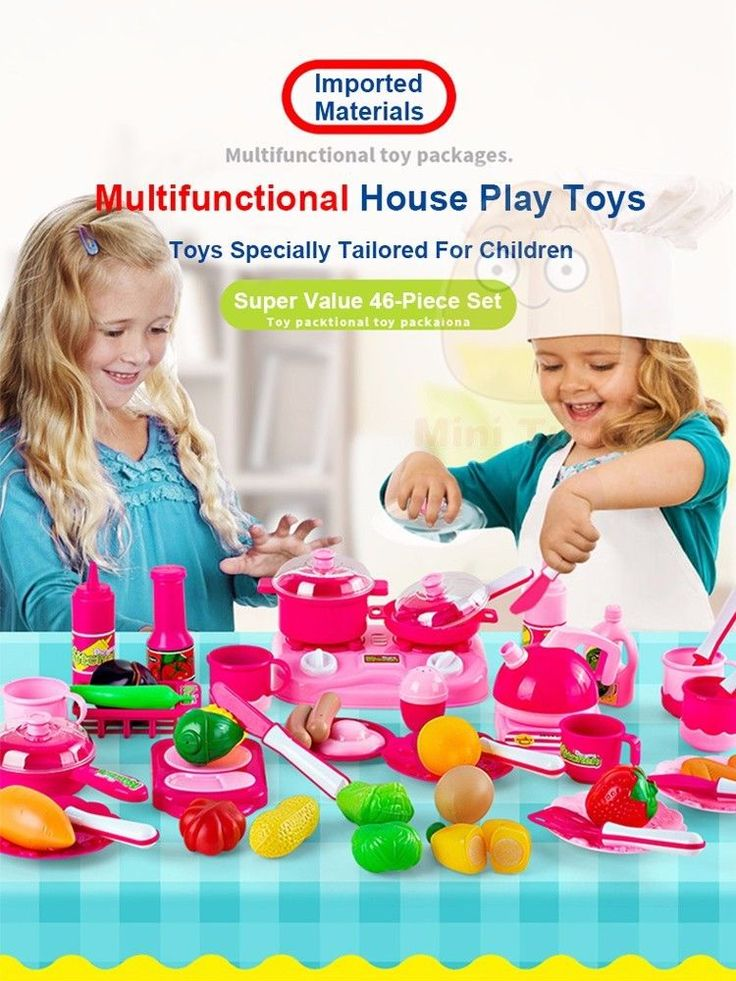 46PCS Classic Cooking Toys For Children Pretend Play Cutting Food Kitchen Sets #MiniTudou