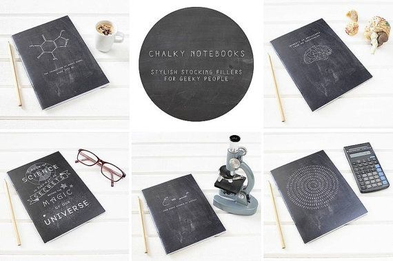 Black notebook for science loving geeks - Makes a great christmas stocking filler gift for him. Classic black chalkboard style with white typography quote design. The chalky cover shows our typographic design which says A book of science is like a jar of secrets behind the magic