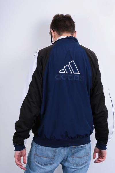 Authentic Adidas Mens 46/48 Sweatshirt Navy Blue Full Zipper Jacket Tracksuit Sportswear - RetrospectClothes