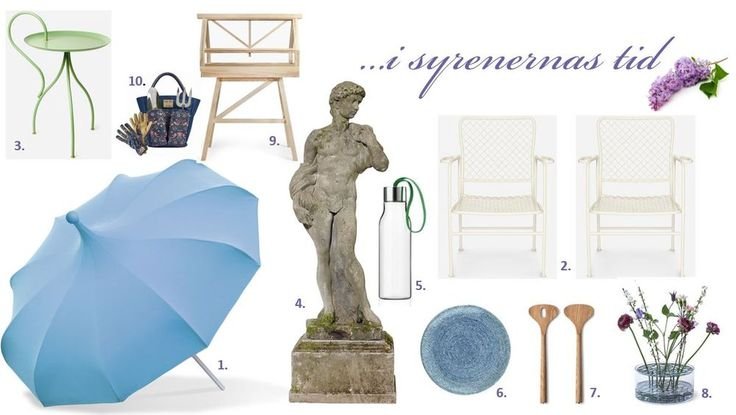 Moodboard: Trädgårdinspiration i syrenernas tid | outdoor furniture inspiration blue