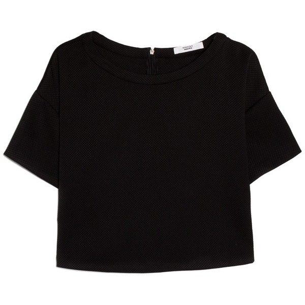 mango texture cropped blouse 40 found on polyvore. Black Bedroom Furniture Sets. Home Design Ideas
