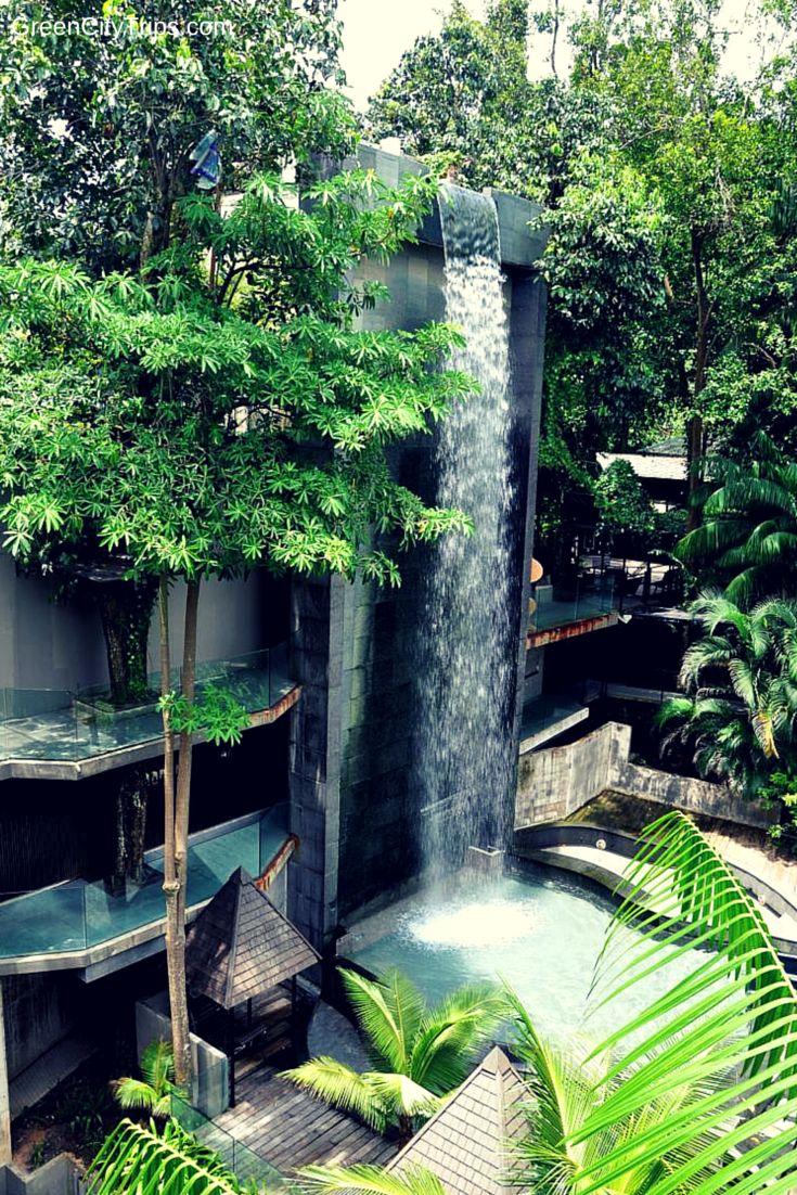 Waterfall at siloso beach resort sentosa island - Siloso beach resort swimming pool ...