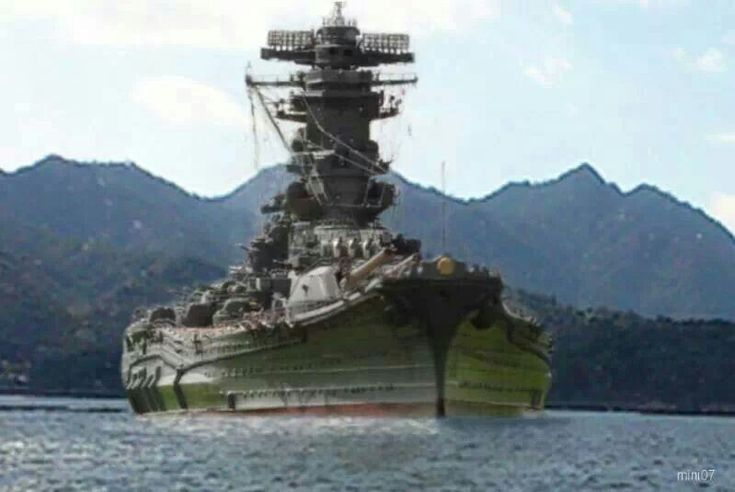 Artificially coloured, this relatively unknown picture gives a good impression of the scale of 71000 ton, 18 in Japanese super-battleship Yamato - together with her sister Musashi, the largest such vessels ever built by a significant margin.  Musashi was sunk in October 1944 and Yamato in April 1945, both by sustained air attack.