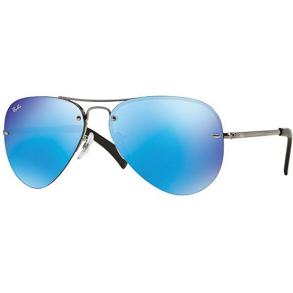 Ray-Ban Rimless Aviator Sunglasses ($175) ❤ liked on Polyvore featuring accessories, eyewear, sunglasses, blue, aviator sunglasses, blue glasses, ray ban aviator, ray ban eyewear and ray ban glasses