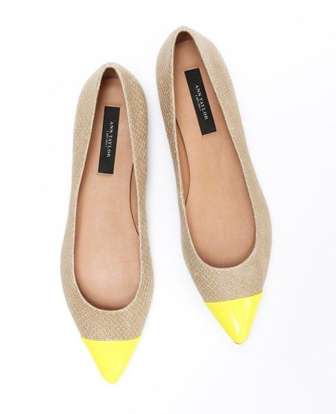 Yellow cap toed flats
