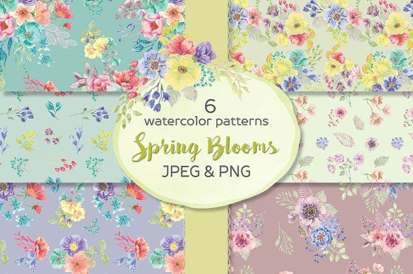 6 watercolor patterns: spring blooms by Lolly's Lane Shoppe on @creativemarket