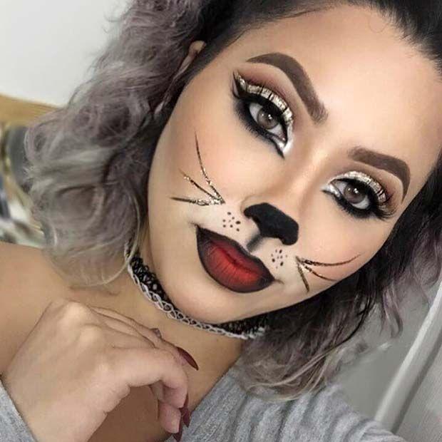 Pretty Glitter Cat Makeup Halloween Makeup Pretty Cat Halloween Makeup Halloween Makeup Easy