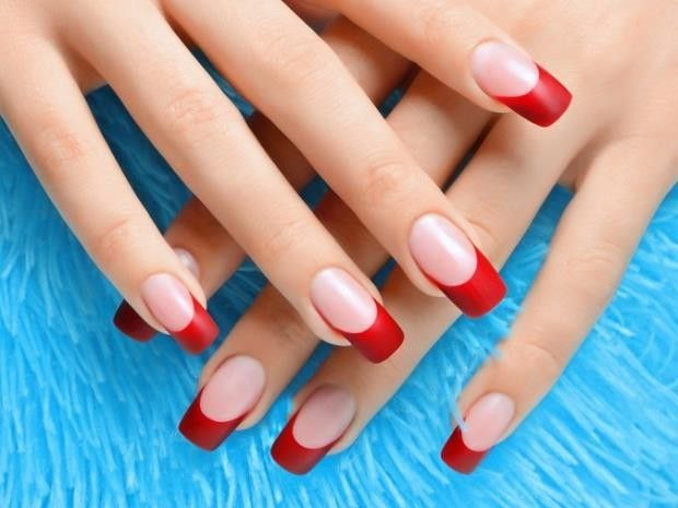 French Nail Polish طلاء أظافر فرنسي Unghie Quadrate French Unghie Rosse Unghie