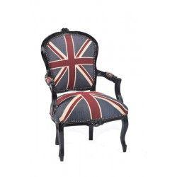 Poltrona barocco nero tessuto bandiera inglese braccioli