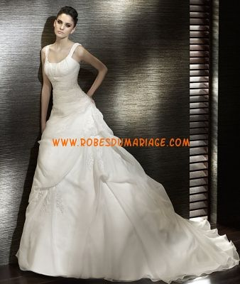 San Patrick robe de mariée longue évasé glamour avec bretellee col en U organza