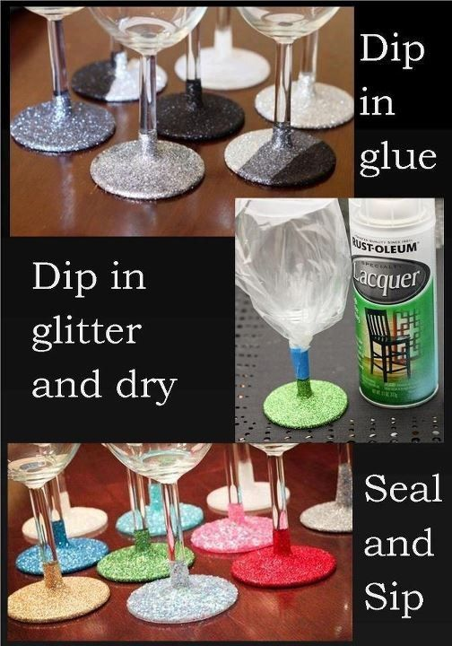 I plan to stain wine glasses blue and put silver glitter on the like this