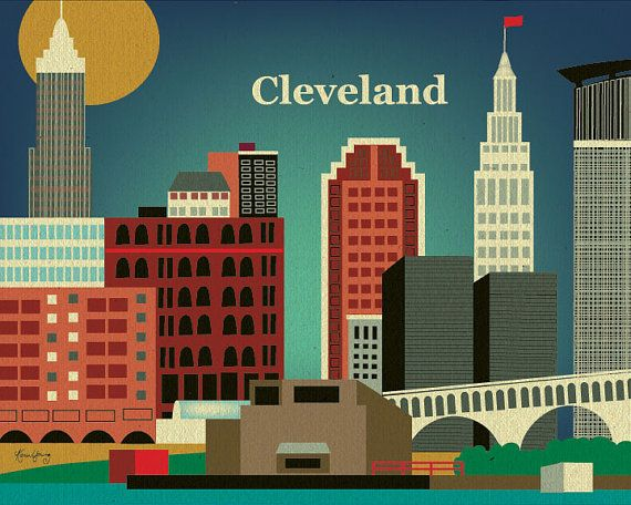 Cleveland Ohio Skyline Poster Print Wall Art for by loosepetals, $26.00