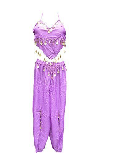 From 8.99 Purple Net/chiffon Belly Dancing Arabian Fancy Dress Hareem Trouser & Top With Coins One Size Fits 8-12 By Fat-catz-copy-catz