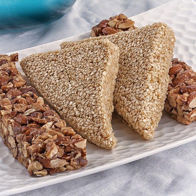 Our Almond Bars and Sesame Snacks are gluten free and are made with real honey!!! #glutenfree #almonds #sesameseed #honey #pasteli #seranobakery #Toronto #bakery