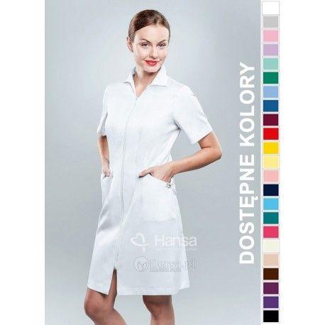 Dobrej jakości i wygodna odzież medyczna, to niezawodny atrybut każdego lekarza, pielęgniarki, czy farmaceutki. | Fartuch medyczny damski Hansa 0037. | Dersa
