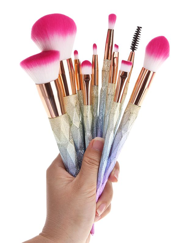 Glitter Rainbow Makeup Brushes Set - COLORMIX