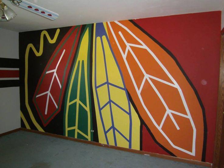 Chicago Blackhawks painted wall logo