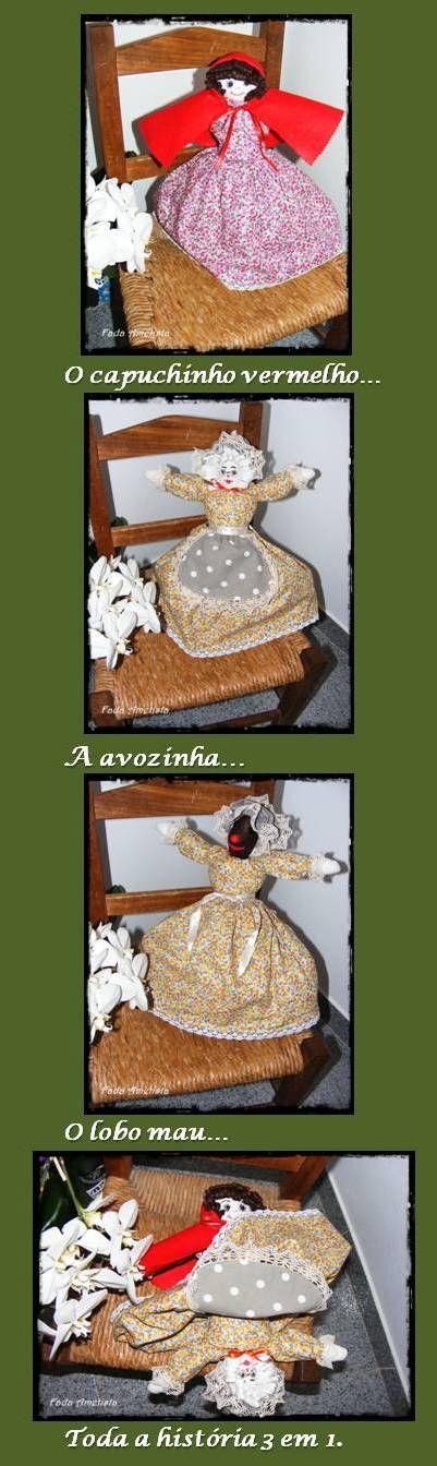 A história do capuchinho vermelho. Com esta boneca poderá contar a história tendo na mão um 3 em 1! https://www.facebook.com/FadaAmetista/photos/?tab=album&album_id=1661161697534630
