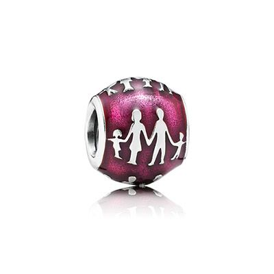 This touching sterling silver charm features a silhouette of a family against a backdrop of translucent violet enamel. The design is reminiscent of Hans Christian Andersen's famous paper cuttings and represents precious family bonds. #PANDORA #PANDORAcharm