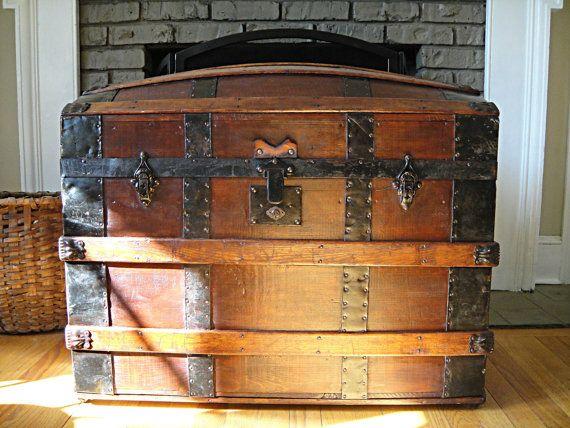 1860's Antique Steamer Trunk Saratoga Barrel by RustyNailDesign