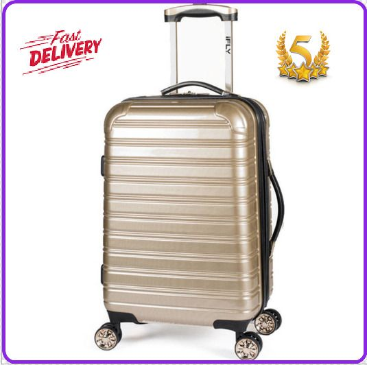 "iFLY Hard Sided Luggage Fibertech 20"" Gold 4 Electroplated Double Wheels Design #IFLY"