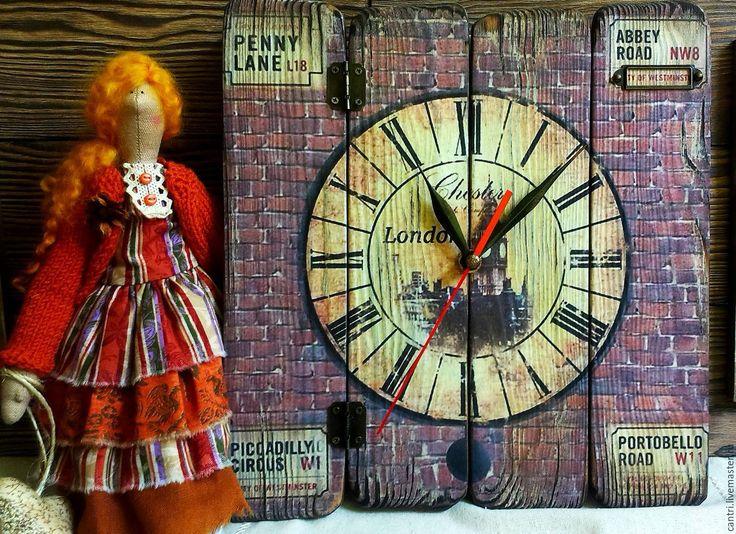 Купить Часы настенные СТАРЫЙ ЛОНДОН - коричневый, часы, часы настенные, часы ручной работы