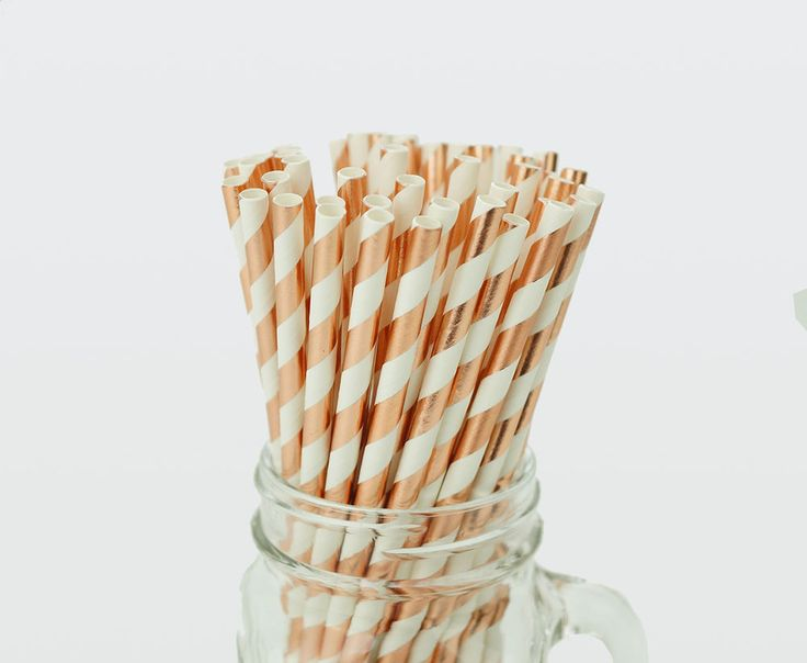 50 x Rose Gold Foil Stripe Paper Straws Drink Wedding Party Event Striped Straw
