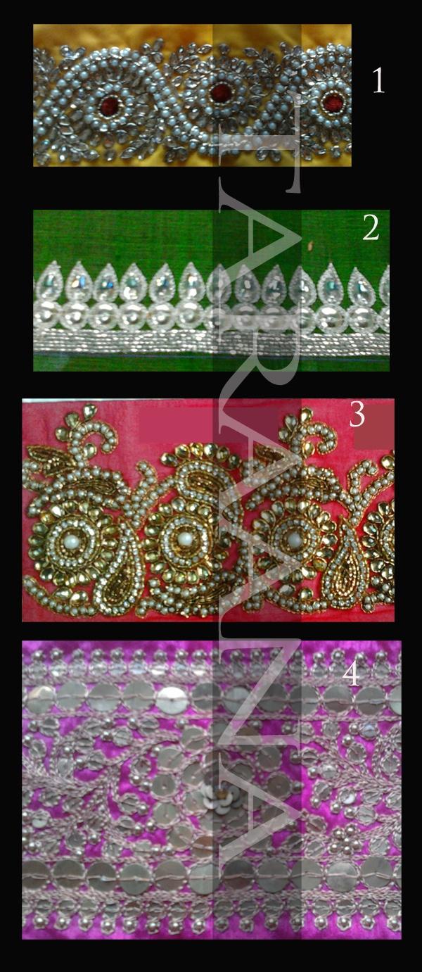 READY FOR SALE Kundan, crystals, beads, pearls, aari zari, dabka, tikki sequins...latest hand-embroidery designs from Kolkata #India. $200 each. To order taraanacouture@gmail.com