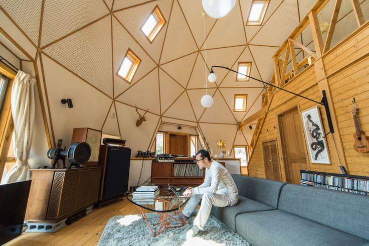 A dome house with a tall ceiling. More