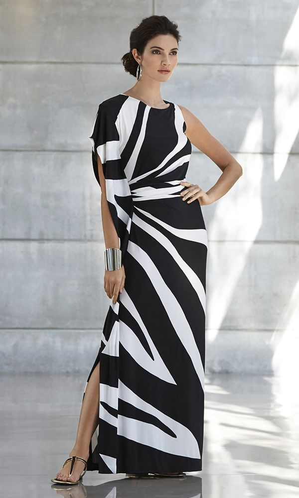 The One-shoulder Dress | Asymmetrical attitude witha zoomed-in zebra print, it›s ruched and slit to flatter in all the right places.