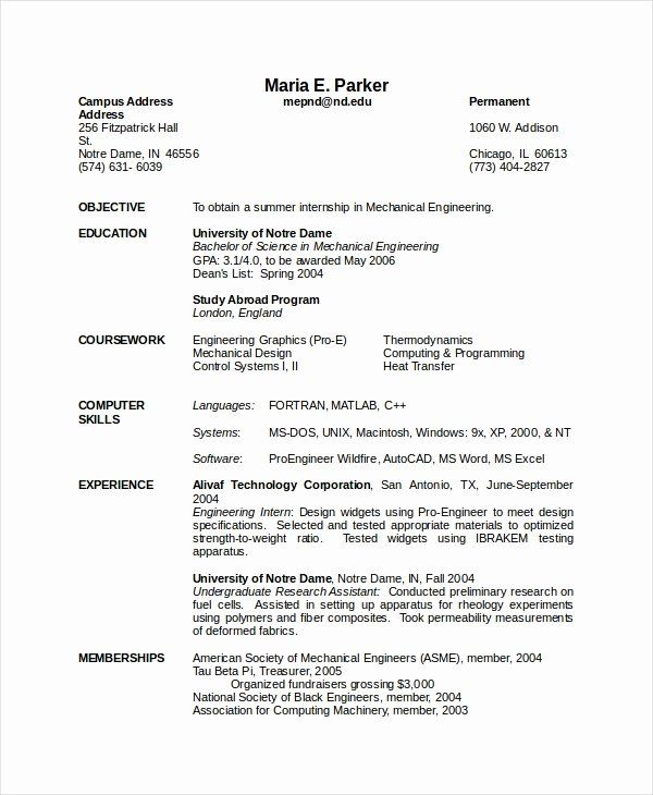 Mechanical Engineering Resume Objective Unique 10 Mechanical Engineering Resume Templ In 2020 Engineering Resume Templates Free Resume Template Word Engineering Resume
