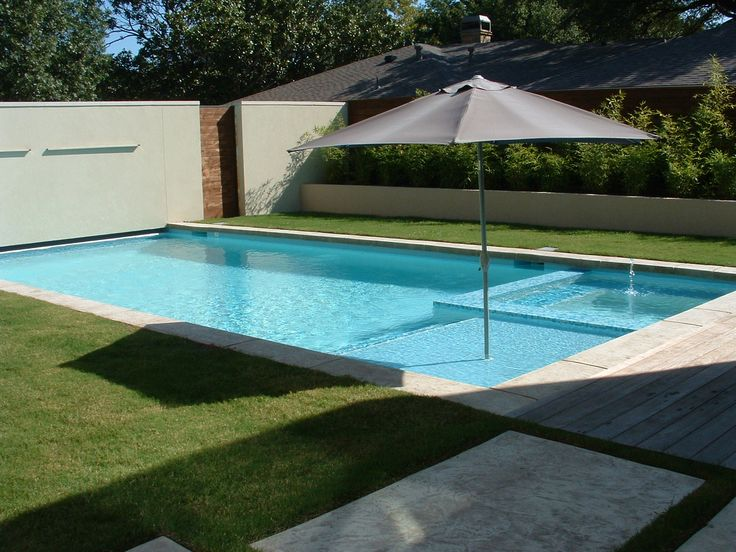 Tanning ledge and straight line coping pool garden for Pool design with tanning ledge