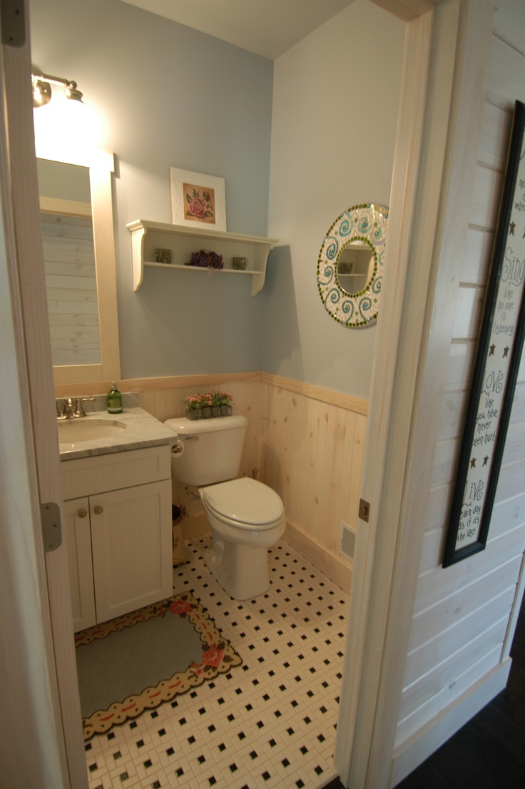 Main Floor Powder Room Granite Vanity Top White Washed Pine Wainscoting And Vintage Black And