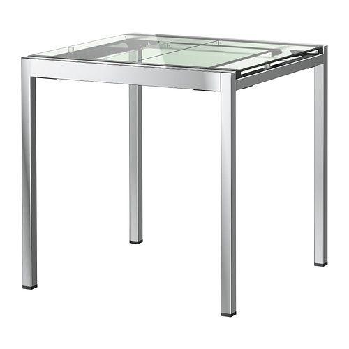 IKEA GLIVARP Extendable table Transparent/chrome-plated 75/115x70 cm 1 extension…