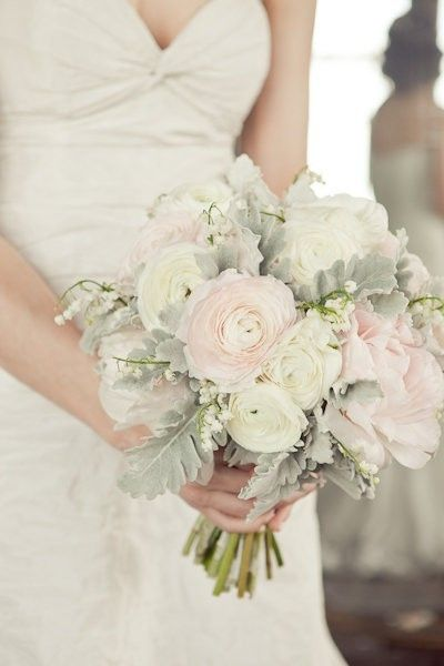Ranoculus & Dusty Miller Bouquet