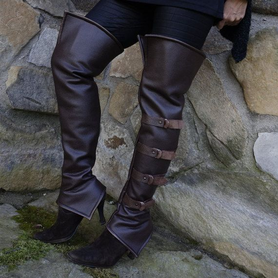 Thigh high boot spats brown faux leather Lady Pirate costume Buccaneer Steampunk Adventurer time travel gamer wear over your shoes size M