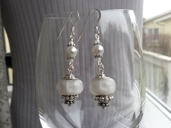 White dangle glass earrings with Sterling Silver by IMKdesign