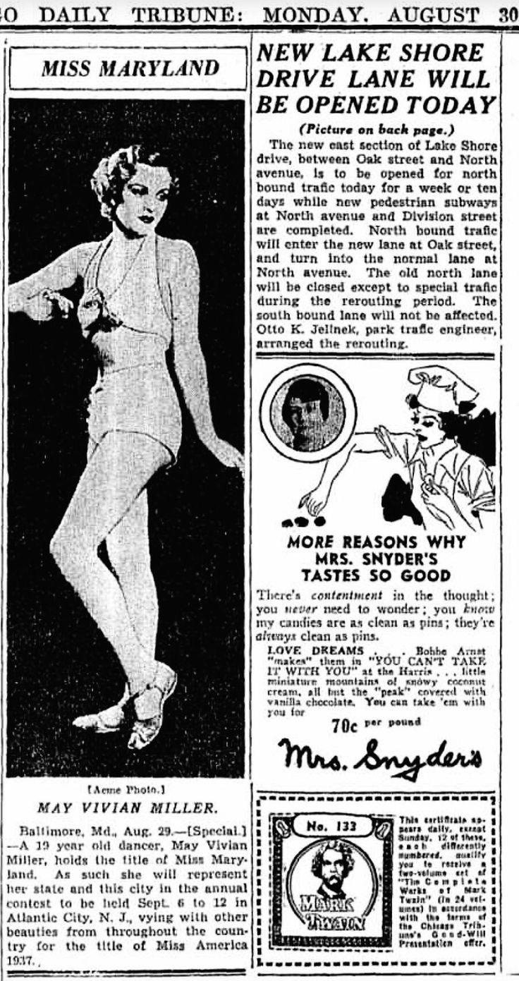 Miss Maryland; Vivian Miller. ※8/30/1937,Chicago Tribune
